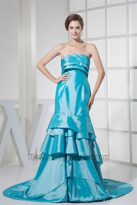 Blus Taffeta blue taffeta strapless prom bridesmaid dresses formal gown