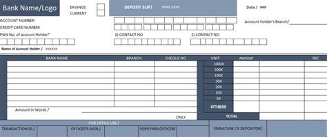 bank deposit receipt template bank deposit slip template spreadsheettemple