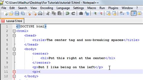 tutorial html video html tutorial 5 the center tag and non breaking spaces
