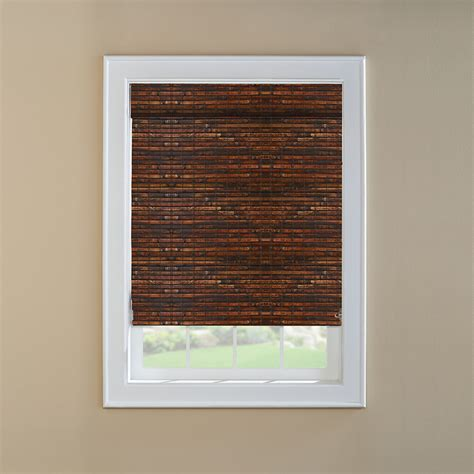 light blocking roman shades shop levolor mahogany light filtering woven wood natural