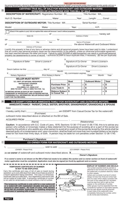 free south carolina boat bill of sale form pdf eforms - Boat Trailer Bill Of Sale South Carolina