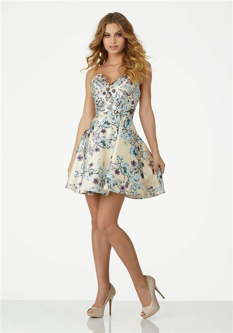 Dress Cocktail by Floral Printed Larissa Satin Cocktail Dress With Beaded