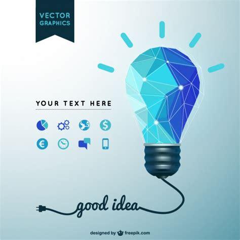 light vector idea background with polygonal light bulb vector