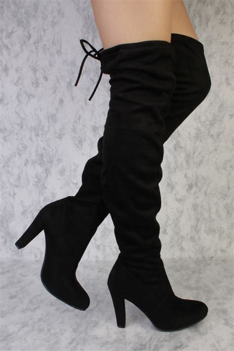 thigh high black heels black pointy toe thigh high single sole high heel