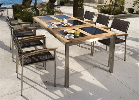 6 Seater Teak/Stainless Steel/Glass Outdoor Dining Set