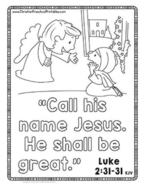 coloring pages angel gabriel visits mary christmas bible verse printables