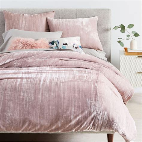 blush bedding crinkle velvet quilt cover pillowcases dusty blush