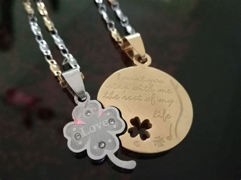 cadenas para novios collares dijes de acero novios aniversarios regalos s