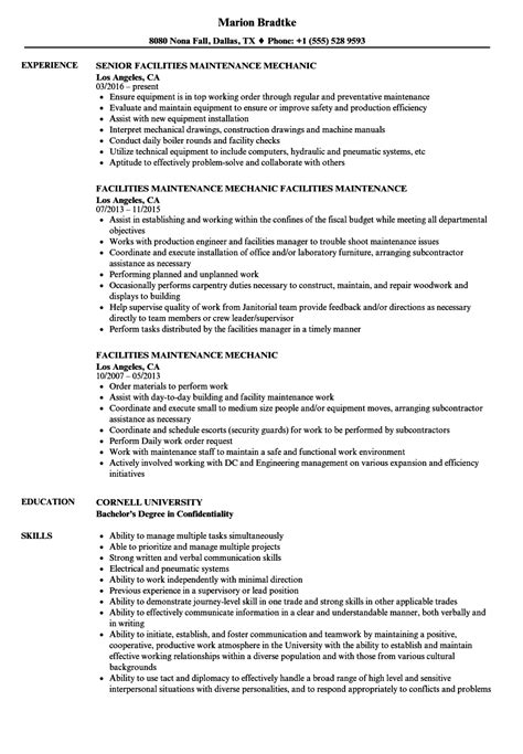 Facilities Maintenance Mechanic Resume Sles Velvet Jobs Maintenance Mechanic Resume Template