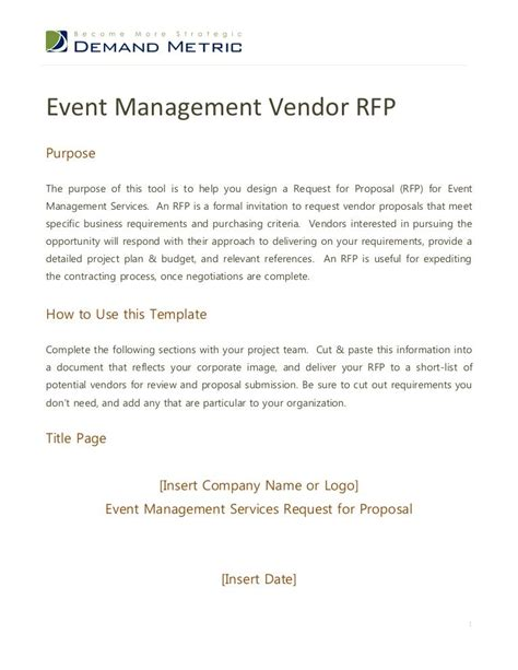 event management rfp requests  proposal rfps
