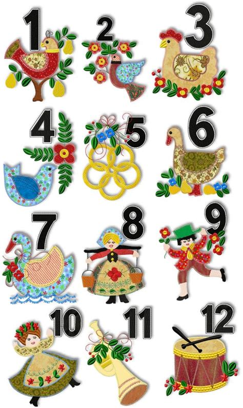 Advanced Embroidery Designs 12 Days Of Christmas Applique Set 12 Days Of Printable Templates