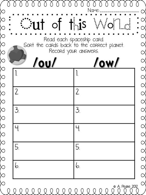 Ou Ow Worksheets by Image Gallery Ou And Ow Worksheet