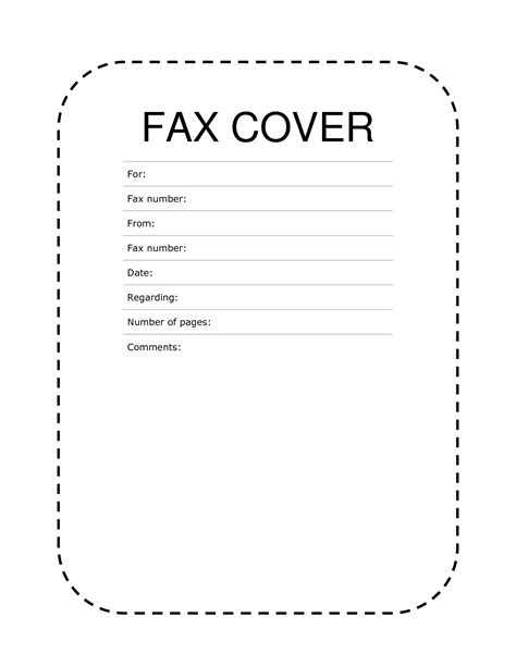 fax cover sheet standard format office templates