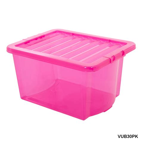 Plastic For Pink plastic storage box containers blue clear pink wham 16 80
