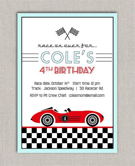 racing card templates best photos of racing birthday invitation cards