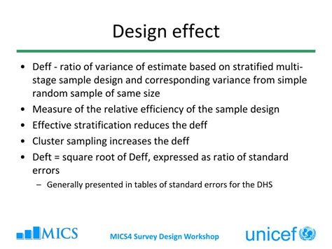 design effect coefficient of variation ppt multiple indicator cluster surveys survey design