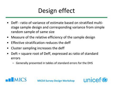 design effect stratified random sle ppt multiple indicator cluster surveys survey design