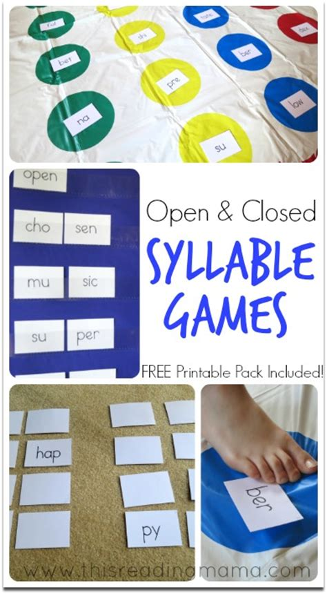 Printable Syllable Games | open and closed syllable games syllable and free printable