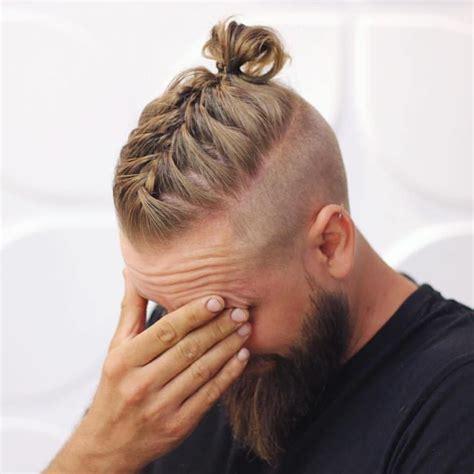 men long hairstyles  beardsmen braided bun  beard