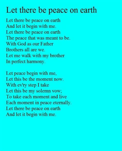 printable lyrics to let there be peace on earth 1000 images about world peace on pinterest world peace