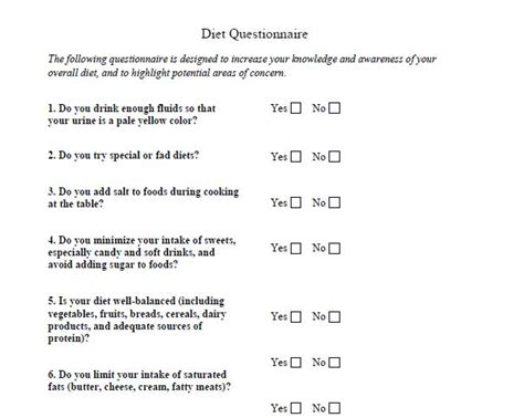 printable fitness questionnaire eating habits questionnaire