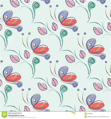 flowers seamless pattern element vector background seamless vector floral pattern with insect decorative