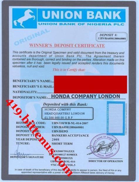 union bank nigeria certificates of deposit nigeria