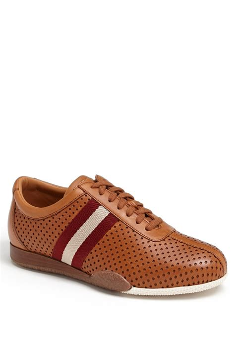 bally sneakers sale bally freenew perforated leather sneaker in brown for
