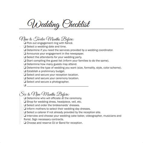Hochzeit Checkliste Pdf by Sle Wedding Checklist 12 Documents In Pdf Word