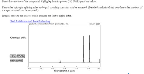 Drawing H Nmr solved draw the structure of the compound c5h10o2 from it