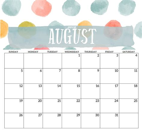 august calendar template 2018 monthly printable templates calendar 2018