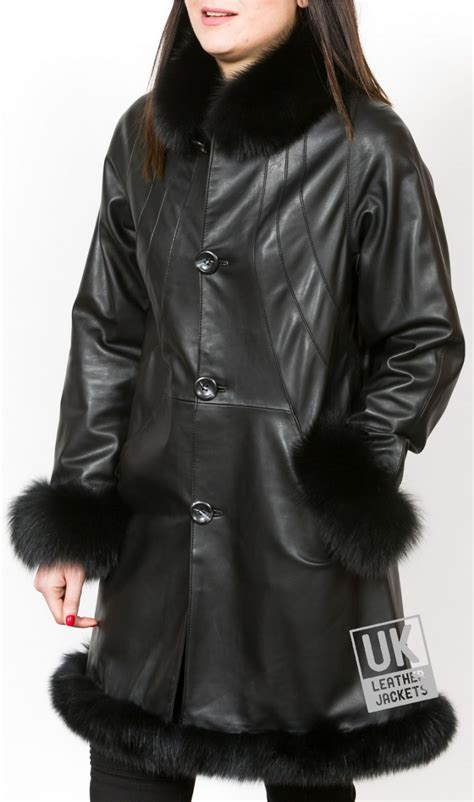 swing coats and jackets ladies black leather swing coat detachable fur collar