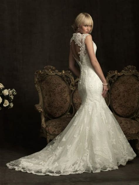 wedding dresses open back lace lace mermaid wedding dress ivory lace open back