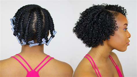 perm rod set for heat damaged transitioning natural hair flat twist out with perm rods on short natural hair