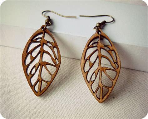 wooden jewelry leaf earrings dangle earrings laser cut wooden