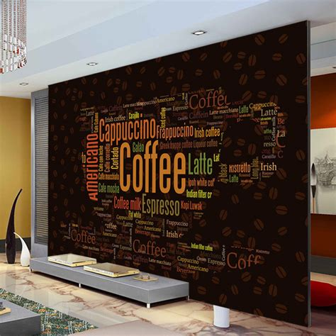 bedroom decor stores aliexpress com buy coffee letters wallpaper custom 3d wall mural fashion photo