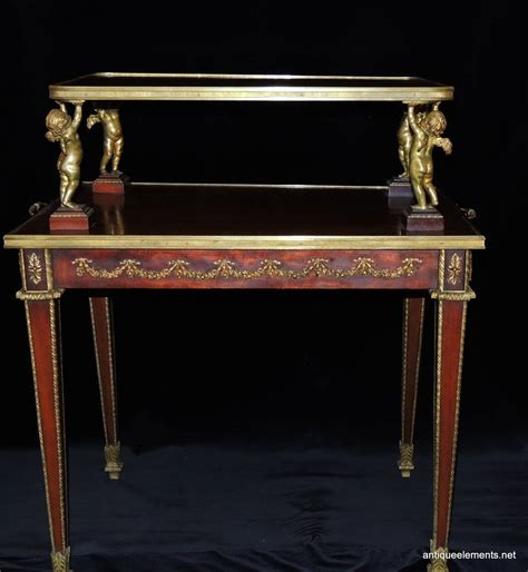 Cherub Table L by Exceptional Two Tier Dore Bronze Ormolu Mounted
