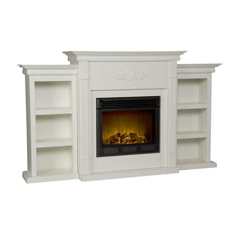 electric fireplace with bookcases sei tennyson electric fireplace with