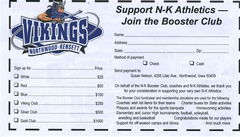 Northwood Kensett Booster Club Membership Form Booster Club Membership Form Template