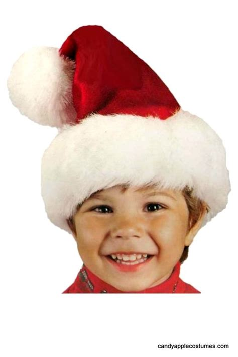 child s red plush santa hat candy apple costumes elf