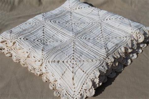 crochet coverlet vintage crochet coverlet handmade white cotton bedspread