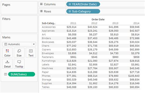 format date tableau build a text table