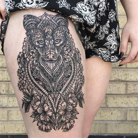 tattoo mandala tribal black mandala wolf head tattoo design by minea