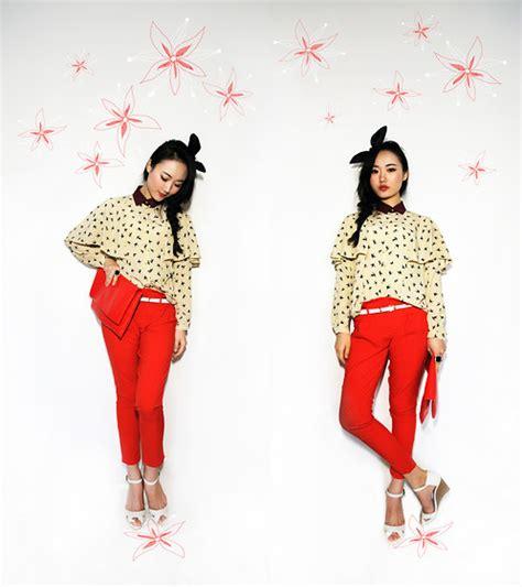 Blouse Ho meng ho mercicoco blouse made by myself trousers bershka headband zara shoes ch 233 rie