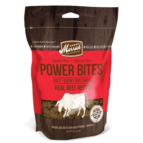 soft treats merrick power bites soft chewy beef treats petco