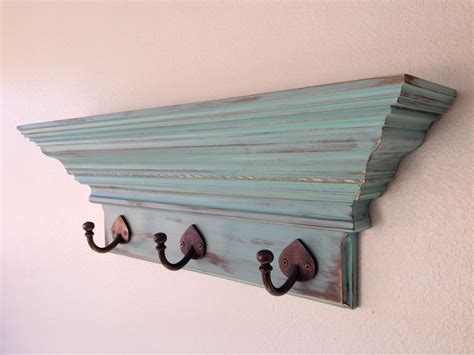 24 shabby chic wall shelf with 3 hooks coat rack shelf