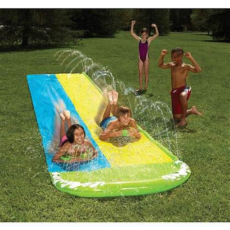 backyard water fun outdoor water slide slip n slide wave rider double 16ft