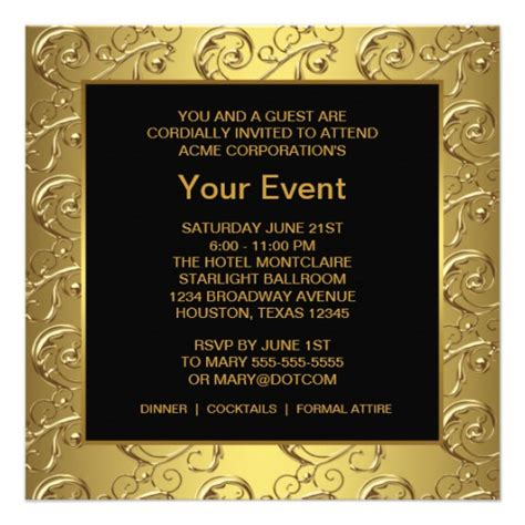 event invitation templates gold and black corporate event 5 25x5 25 square