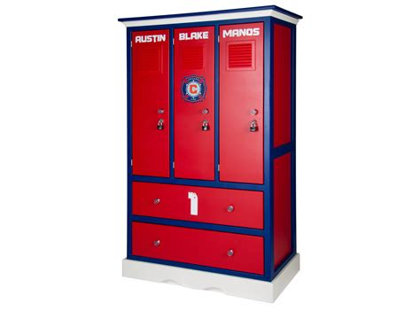 lockers for bedroom childern s locker style dresser sports themed furniture soccer football baseball basketball