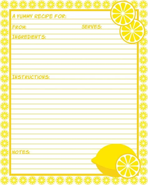 recipe cards template free lemons 533 best recipe pages cards images on recipe